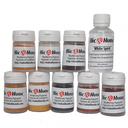 Weathering Pigments - Set of 8 colors + White Spirit
